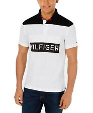 Tommy Hilfiger Mens Polo Shirt Black Size XLT Colorblock Button Front $79- 313