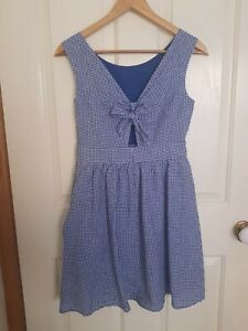 Womens Esprit Gingham Blue White Check Dress Size 10/S