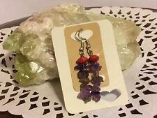 Gemstone  pierced earrings Amethyst chips and Red Howlite rondelles