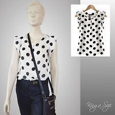 55c43782209618 Sommer Bluse - Chiffonbluse / Tunika - weiß mit schwarze Punkten Gr.40 NEU