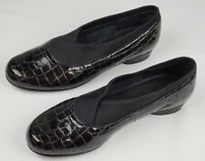 Ros Hommerson Black Patent Leather /Stretch Fabric Flat Slip on Loafer Sz 5 1/2