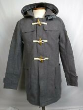 Genuine Superdry Peacoat Mens sz L Classic Wool Duffle Coat Jacket Limited Gray