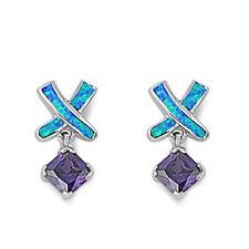 Amethyst & Blue Australian FIRE Opal .925 Sterling Silver Earrings & Pendant Set