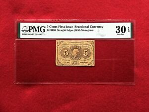 FR-1230  First Issue 5c Cent Fractional/Postage Currency *PMG 30 EPQ Very Fine*