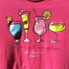 Drinks Well With Others St Augustine Florida Women's Medium T Shirt Pink
