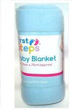 First Steps Soft Fleece Washable Baby Blanket 70cm x 70cm Blue Pink White 0M +