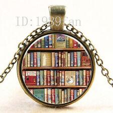 Clásico Libros Cabujón bronce Vidrio Cadena Colgante Collar