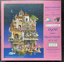 """SunsOut Puzzle Superstitions How Many Can You Find 1500 PCS Jigsaw 24"""" x 33"""" EUC"""