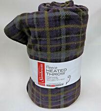 "Sunbeam Fleece Heated Throw Blanket 50"" X 60"" Plaid Predominately Purple"