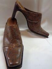 Antonio Melani Shoes 8 Heels Mule Bootie Brown Tooled Leather Western Clog