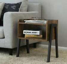 Side Table Modern Industrial Style Nightstand Bedside Stand Vintage Rustic Wood