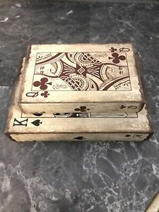Two Nesting Wooden Book Boxes Storage Stackable King Spades Queen Clovers EUC