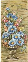 VINTAGE CORNFLOWERS BLUETS PINK BELL FLOWERS ART PRINT 1 CHRISTMAS TOY SHOP CARD