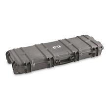 Gray Rifle Hard Carry Case Tactical Scoped AR Waterproof Storage Box Wheels TSA
