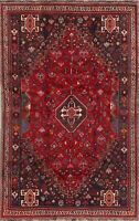 Geometric Oriental Abadeh Area Rug Wool Hand-Knotted Medallion RED Carpet 6x9