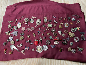 Vintage pin lot Brooch costume jewelry rhinestone Craft Repair