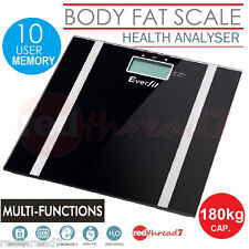 Digital Bathroom Electronic Scale Body Weight Fat Glass Scales LCD Personal Blac