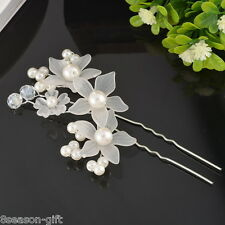 HX 1PC Bride Flower Hair Pin Wedding Party Jewelry Accessory Lovely Pearl
