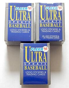 Lot of (3) 1991 Fleer Ultra Update Baseball Factory Sets Rodriguez RC Mussina RC
