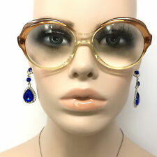 Vintage Beryl Eyeglasses Clear Brown Round Prescription Glasses Frame Retro