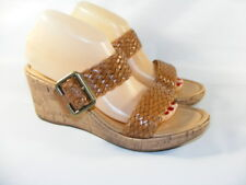 Born Women's Brown Size 10 M Cork Wedges Weaved Patent Leather Buckle Cork Shoes