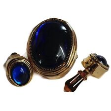 Hattie Carnegie Set Earrings Brooch Vintage Signed Glass Blue Cabochon Gold