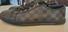 Louis Vuitton Mens Leather Damier Graphite Lace Up Sneakers
