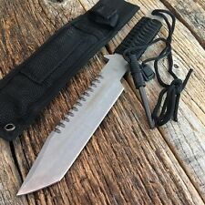 "11"" Hunting Tactical Combat Survival FIXED BLADE Knife w/Fire Starter Bowie -W"