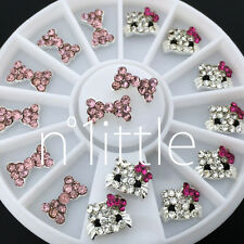 3D Nail Art Deco Hello Kitty & Bow Alloy Jewelry Glitter Rhinestone+Wheel NU-005