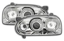 PHARE AVANT ANGEL EYES VW VOLKSWAGEN GOLF 3 1991-1997 CHROME CRISTAL LED FEUX