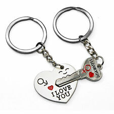 "Arrow & ""I Love You"" Keyring Heart & Key Lover Gift Couple Key Chain Ring Keyfob"