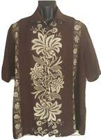 Caribbean Pineapple Men's Large Brown Floral Hawaiian ShirtSilk blend