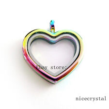 1p 30mm Heart Rainbow Locket Glass Memory Locket fit DIY Floating Charms
