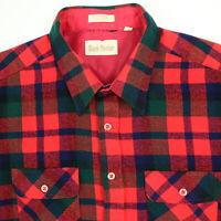 Vintage 80s Flannel Shirt Mens XL Red Plaid Soft 100% Acrylic Camp Hunt Grunge