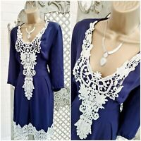 UNBRANDED 💋 UK M Midnight Blue Lace Appliqué Fit & Flare Dress Summer