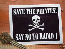 "Guardar los piratas, decir no a Radio 1 Classic Auto Adhesivo 4 "" 1960 Ventana Retro"