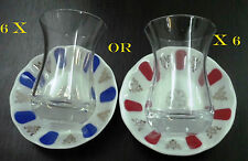 6 X PASABAHCE Ince Belli Tea Cups Acem Porcelain Saucers Turkish AJDA Glasses