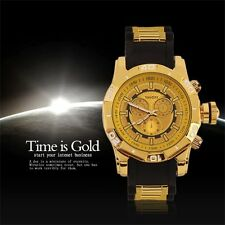 Cool Fashon Men's Quartz Watch Large Dial Silicone Band Wristwatch LE