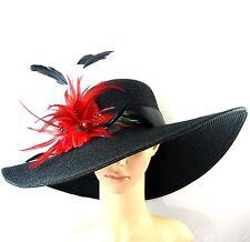 NEW Church Kentucky Derby BLACK Hat Feathers Wide Brim Dress Wedding Tea Party
