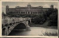 München Bayern alte Ansichtskarte ~1930 Partie am Maximilianeum Isar Brücke
