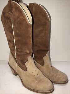 Vintage 2-Tone Tan Suede Cowboy Boots Size 8 1/2 M Good Condition