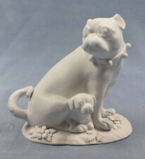 Mops + kind Schellen hund figur porzellanfigur pug porzellan greiner stauch 1850