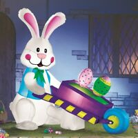 Easter Bunny with Wheelbarrow Holding Eggs Lighted Outdoor Airblown Inflatable