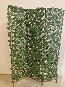 "72 x 36"" Room Divider 3 Panel Artificial Leaves Trellis Partition Screen Garden"