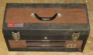 Vintage Craftsman Rally Tool Box Locking Woodgrain 1 Key Good Cond. w/ Character