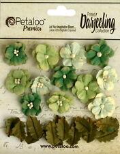 Petites GREEN Mix 12 Flowers 2cm+12 Leaves 15x20mm Paper Darjeeling Petaloo Ver
