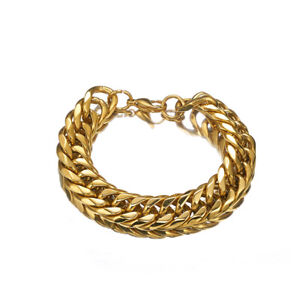Mens Gold Filled Bracelet Stainless Steel Cuban Link Miami Chain 18K Male Bangle