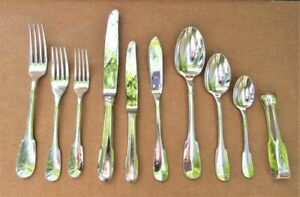 10 Piece PLACE SETTING Christofle CLUNY Silver-plated forks knives spoons FRANCE