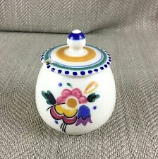 Poole Pottery Sauce Mustard Pot Jar Hand Painted Signed