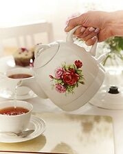 Paese Elettrica in Ceramica Rose Cottage Bollitore Retrò Vintage English Rose Tea Pot